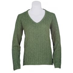 Hallie Ladies V Neck Knitted Jumper Dill