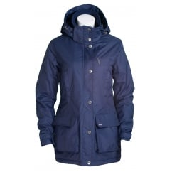 Ned Waterproof Coat Night Blue With Dog Print Lining