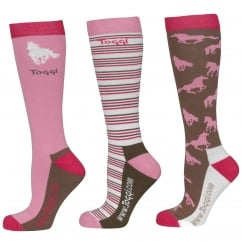Palmer Ladies 3Pk Socks Horse Design Carnation Size 4-8