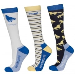 Palmer Ladies 3Pk Socks Horse Design Vanilla Size 4-8