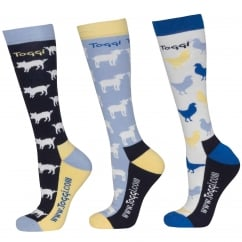 Providence Ladies 3Pk Socks Farmyard Animal Design Night Blue Size 4-8