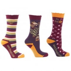 Rocket Girls / Kids 3 Pack Socks Aubergine