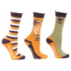 Rocket Girls / Kids 3 Pack Socks Pumpkin