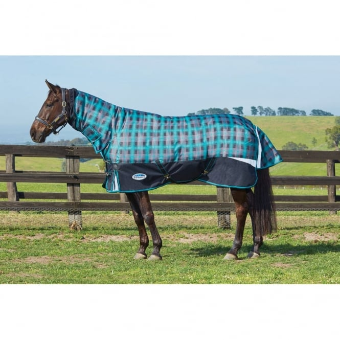 Weatherbeeta Freestyle 1200d Combo Heavy Turnout Rug Black Teal Plaid