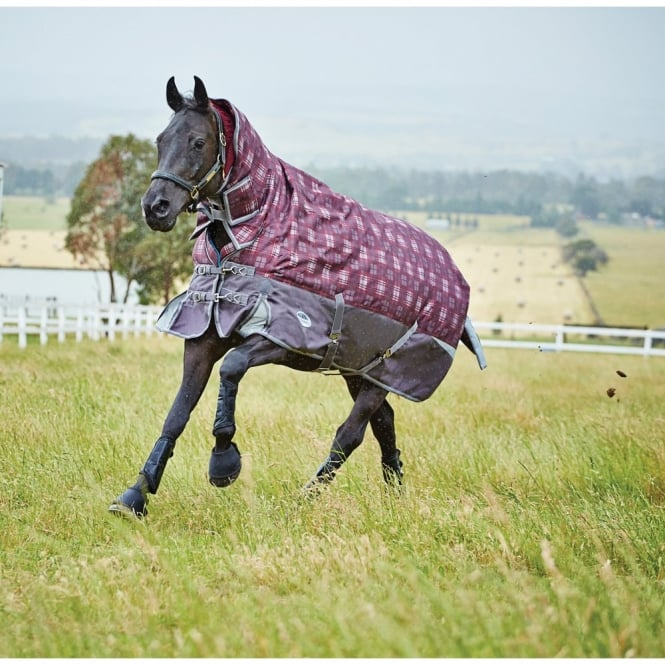 Weatherbeeta Freestyle 1200d Combo Heavy Turnout Rug Burgundy Grey Plaid
