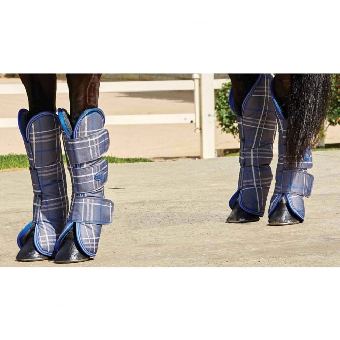 Weatherbeeta Wide Tab Long Travel Boots Grey Plaid